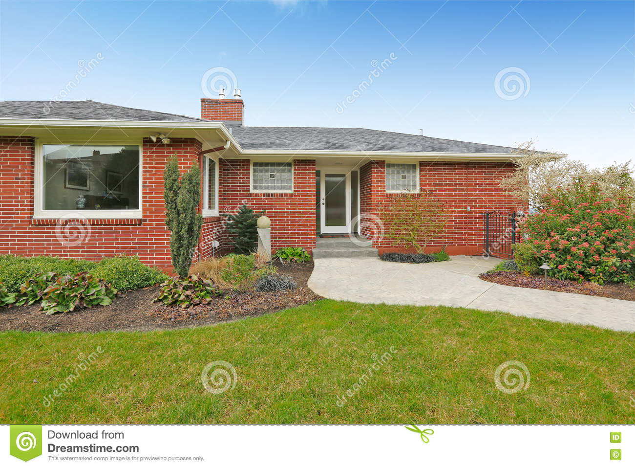 Red brick house with tile roof front view red brick house with tile roof