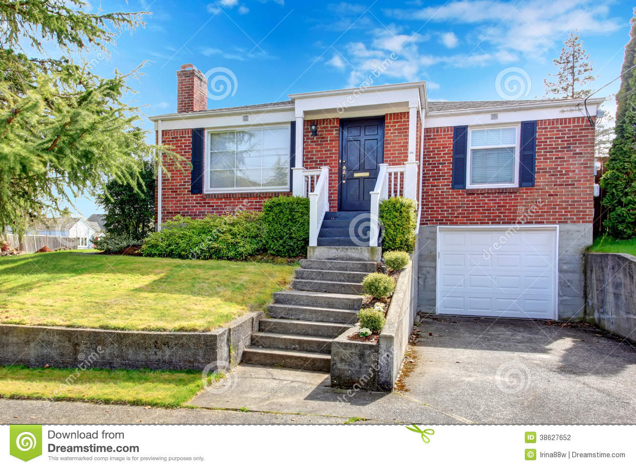 Red Brick House With White Trim Stock Photography Image