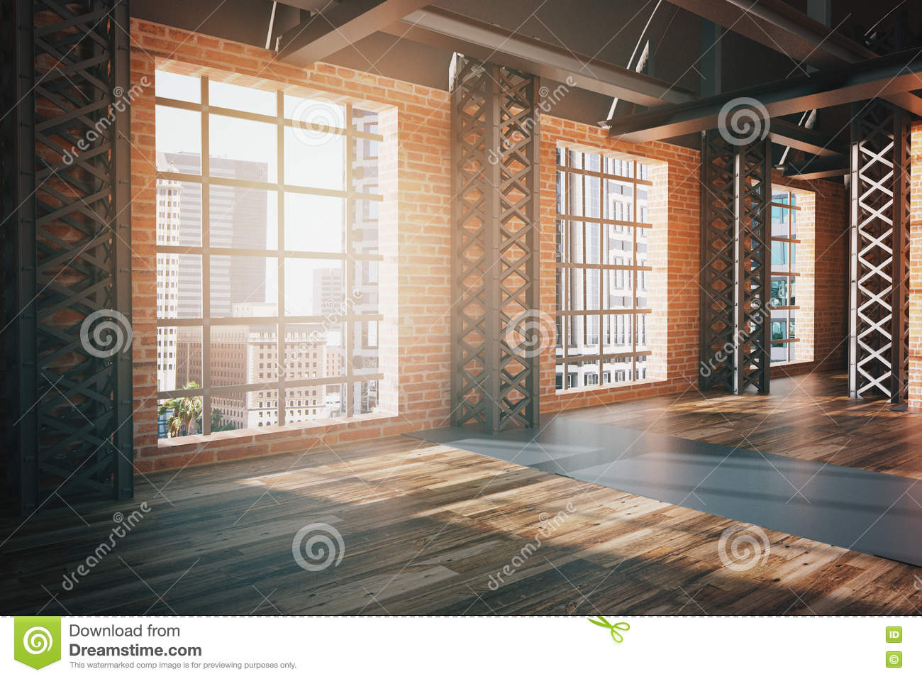 Red Brick Interior With City View Side Stock Illustration Illustration Of Home Living 81942035