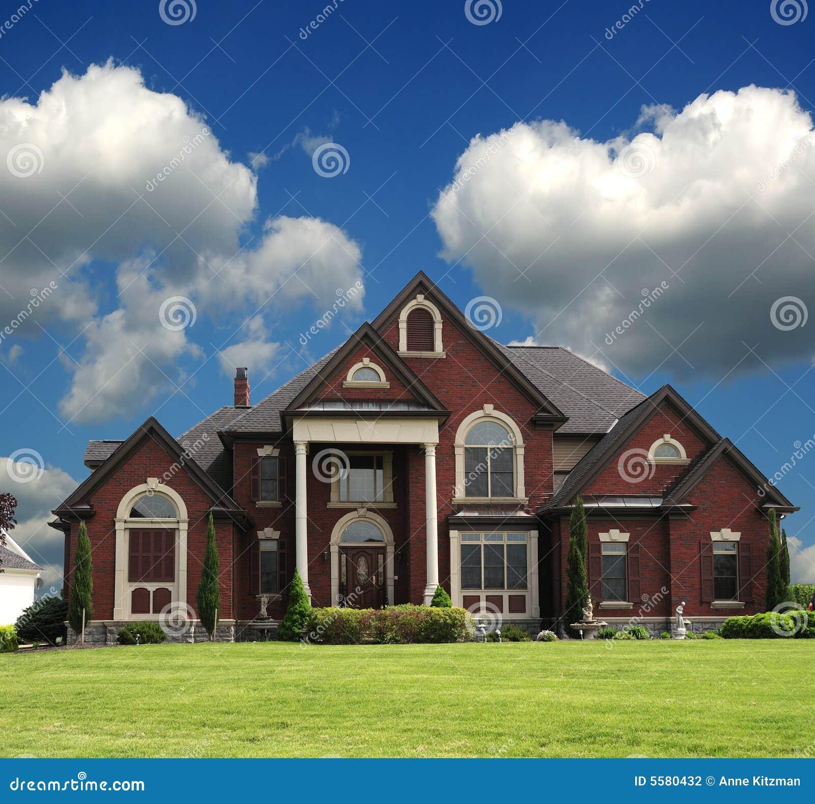 Luxury Brick Homes: Red Brick Mansion Stock Photo. Image Of Shingles, Estate