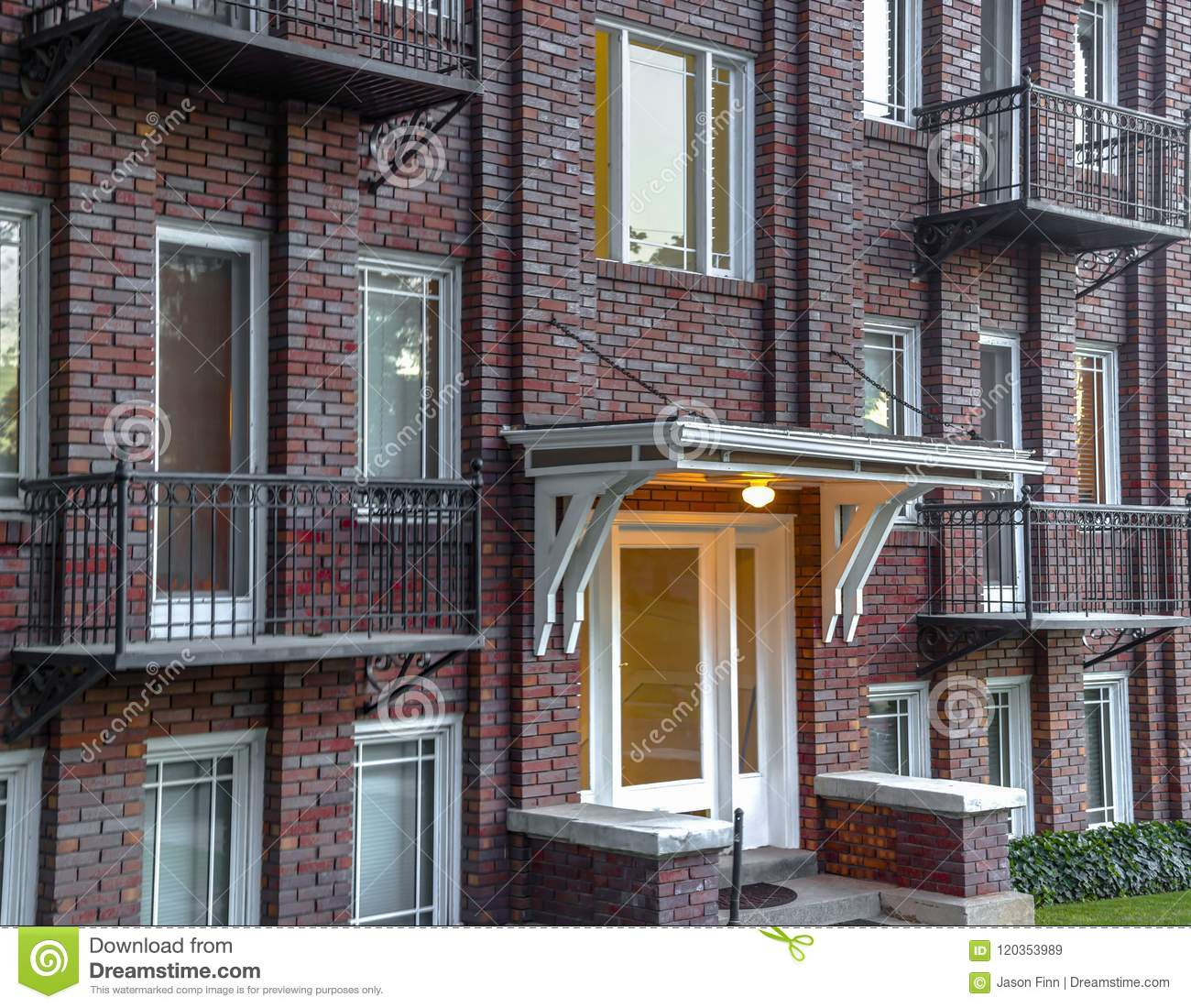 Salt Lake City Downtown Buildings: Red Brick Residential Building Downtown Stock Image