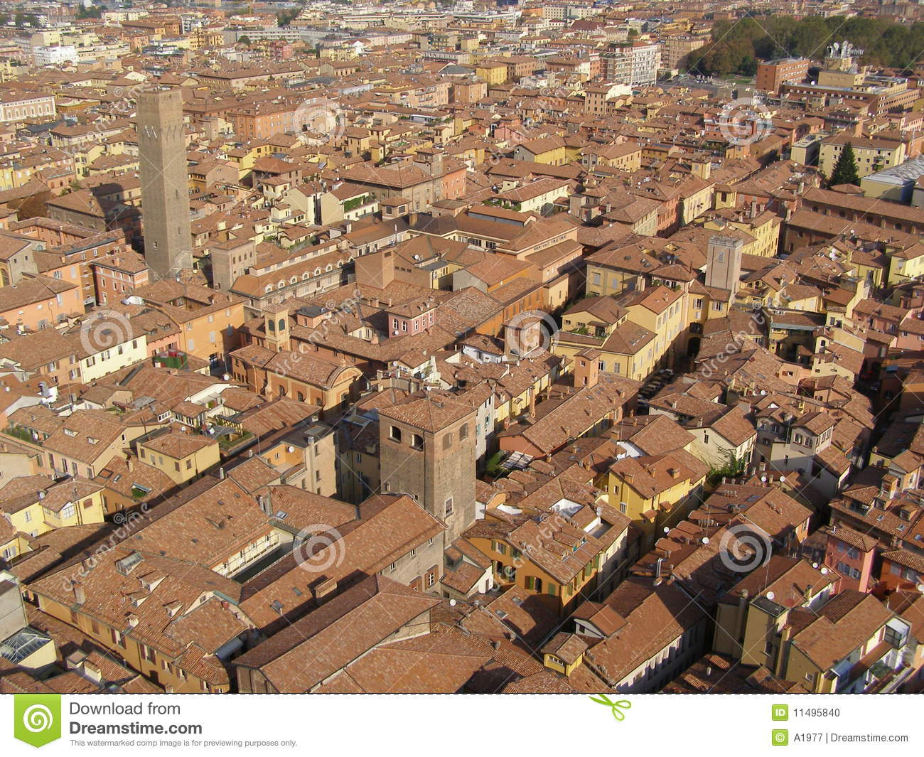 Red brick roofs in Bologna