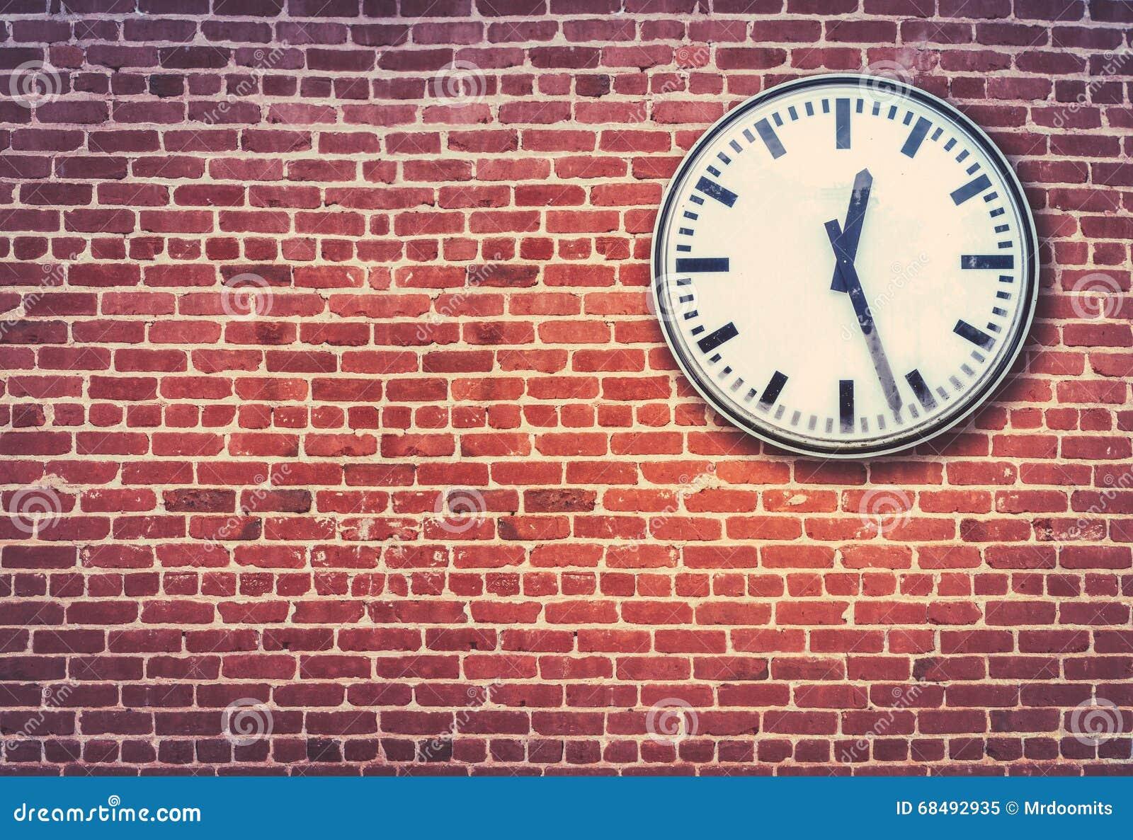 Red Brick Wall And Clock Stock Photo 68492935 Megapixl
