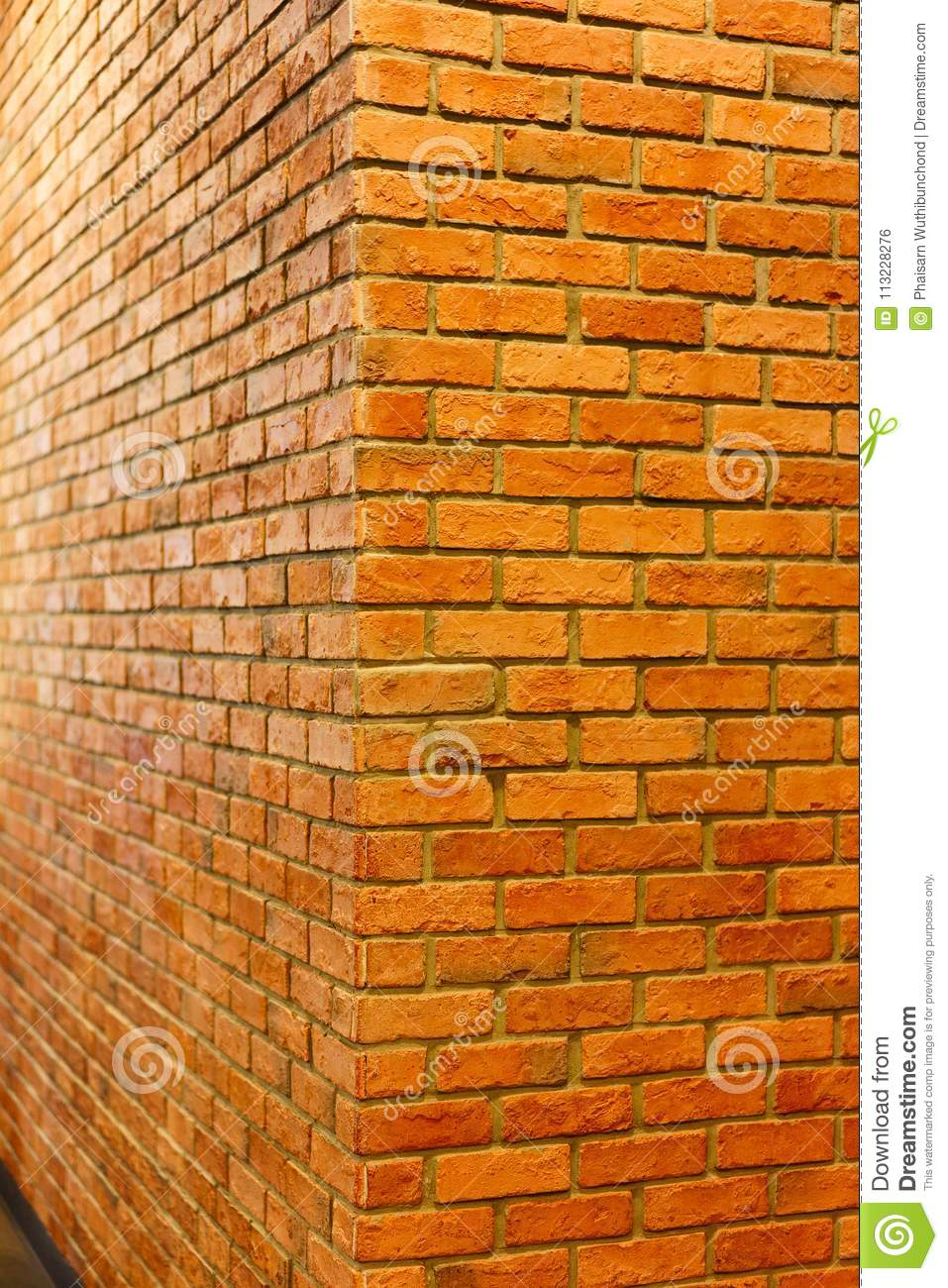 Red Brick Wall Corner View Of Empty Brick Wall Textured Background