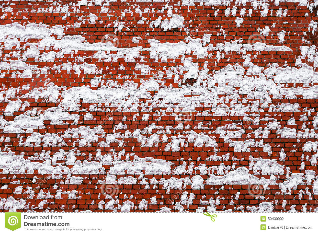 Red Wall Texture With Snow Royalty Free Stock Image