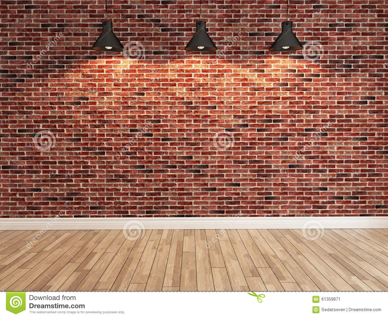 Red Brick Wall Decoration Under The Three Spot Light
