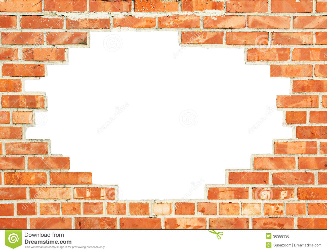 Red brick wall with gap stock photo image of mortar - Wand durchbruch ...