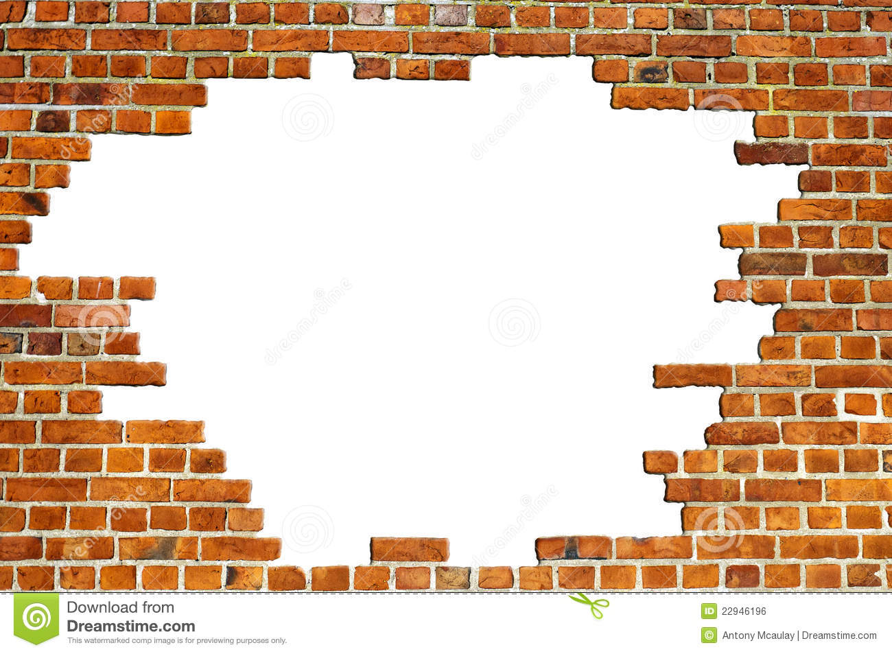 Red Brick Wall Texture With Hole Stock Photo Image Of