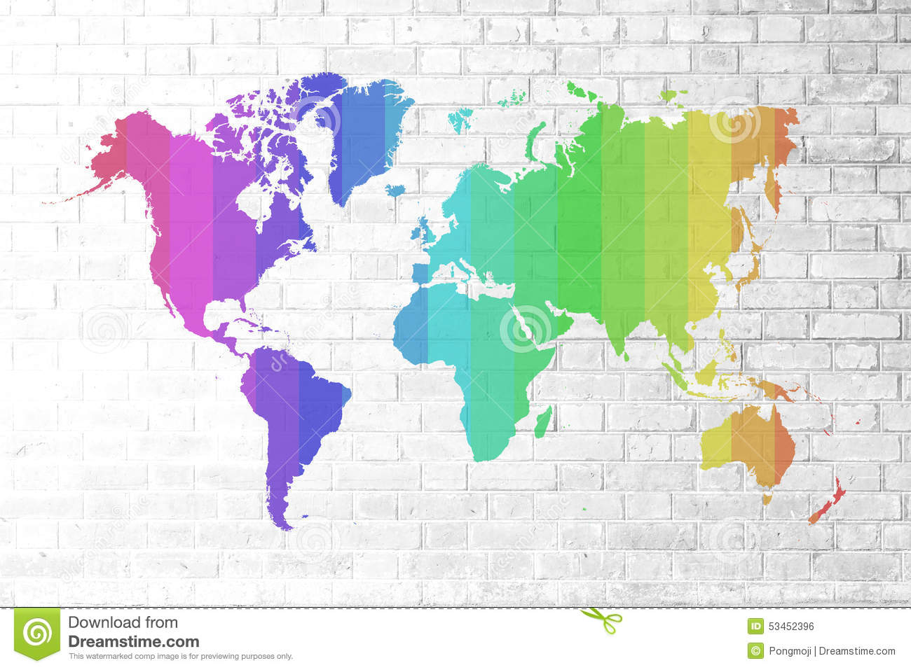 Red brick wall texture soft tone colorful world map stock photo image 53452396 - World of color wallpaper ...
