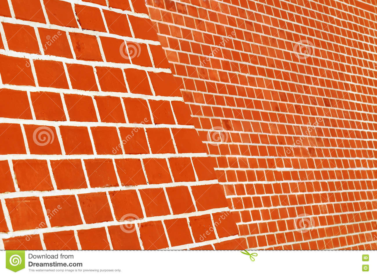 Red Brick Wall With White Seams Side View