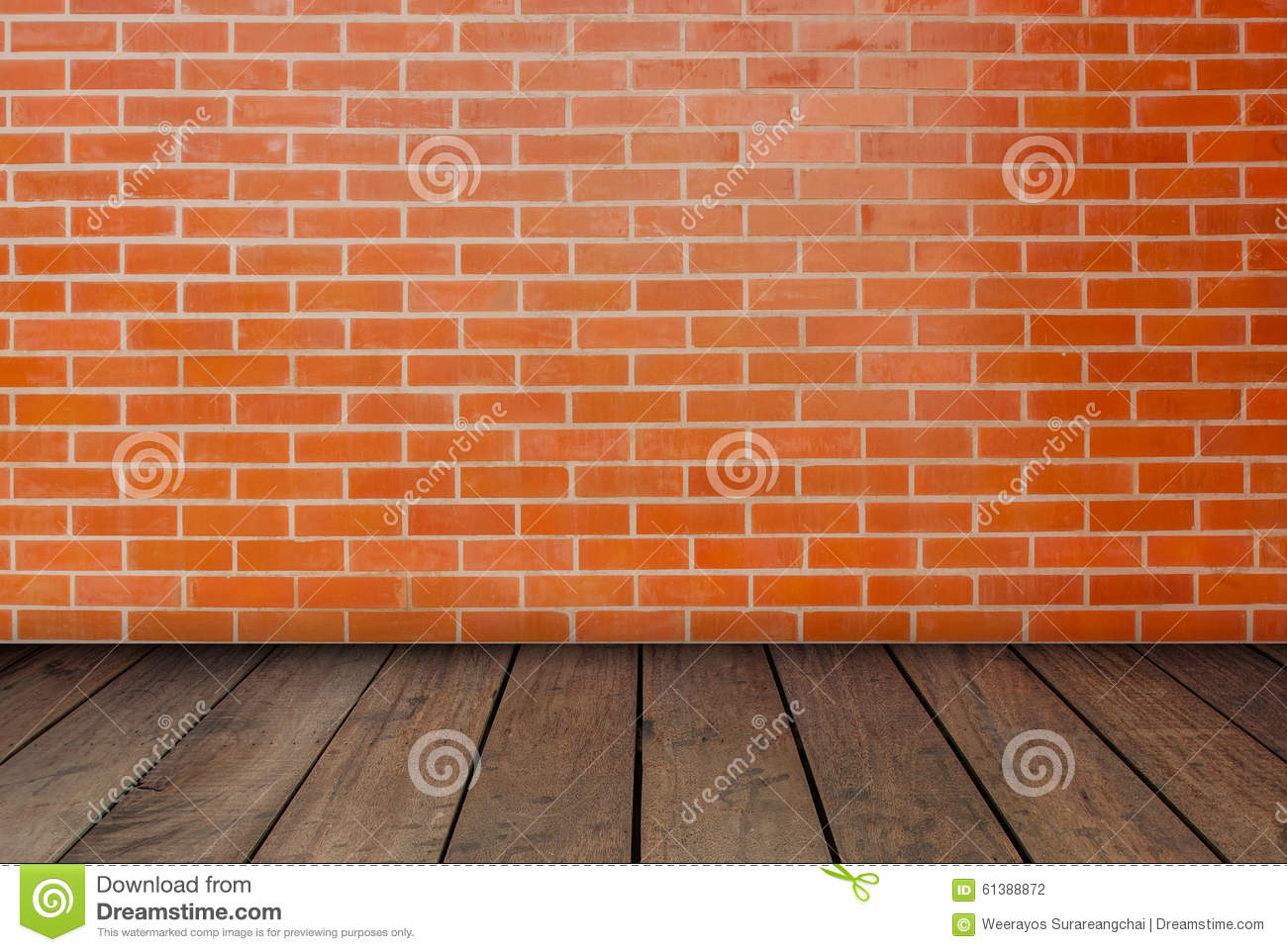 Red Brick Flooring : The red brick walls and wood floors stock photo image