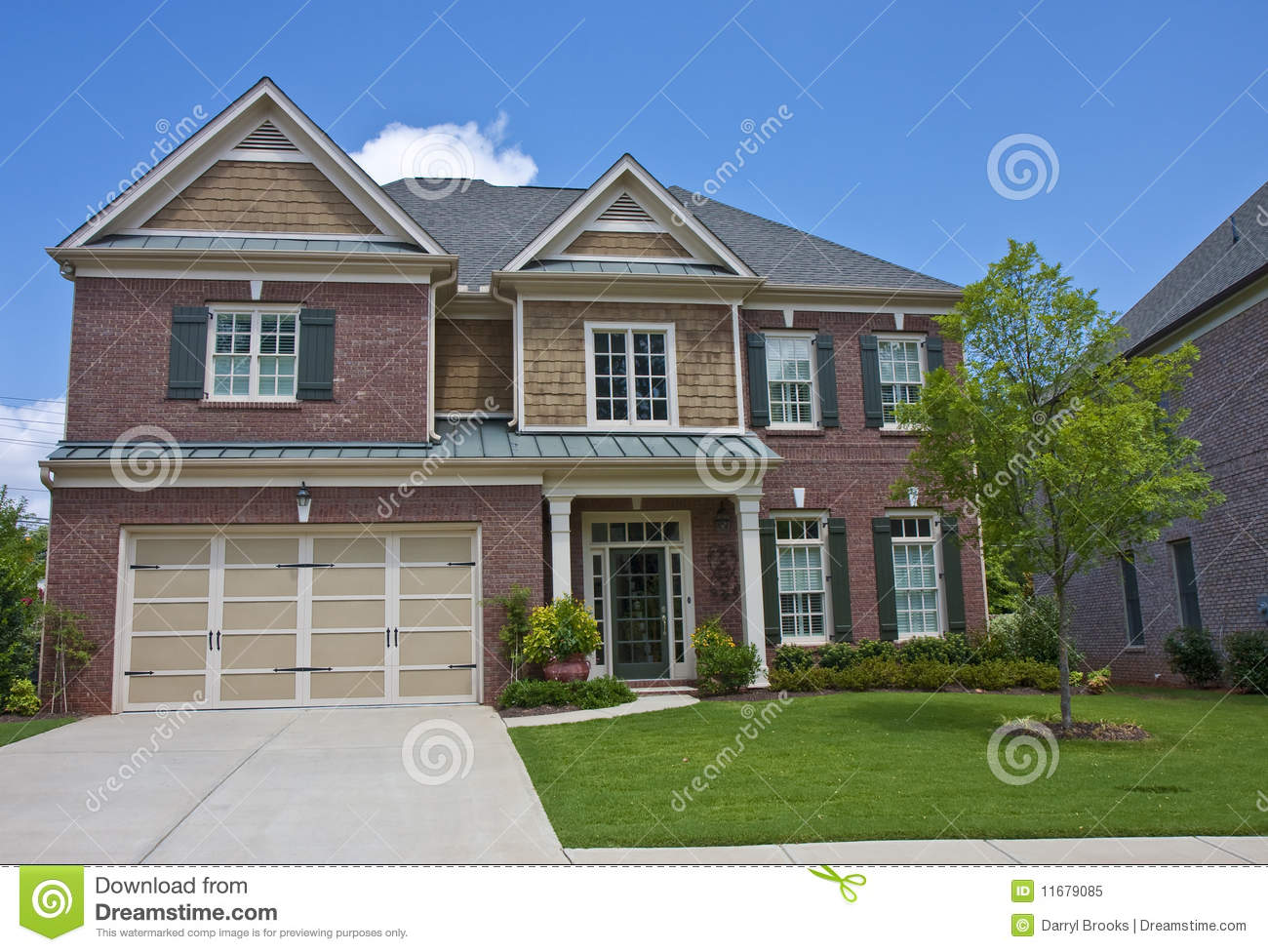 Red Brick With Wood Shingle Siding Stock Image Image Of