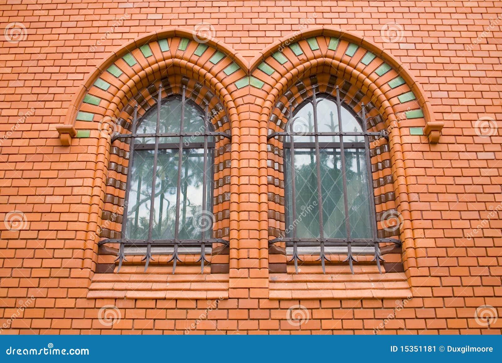 Red Bricks Church Ornamental Windows Stock Image - Image: 15351181