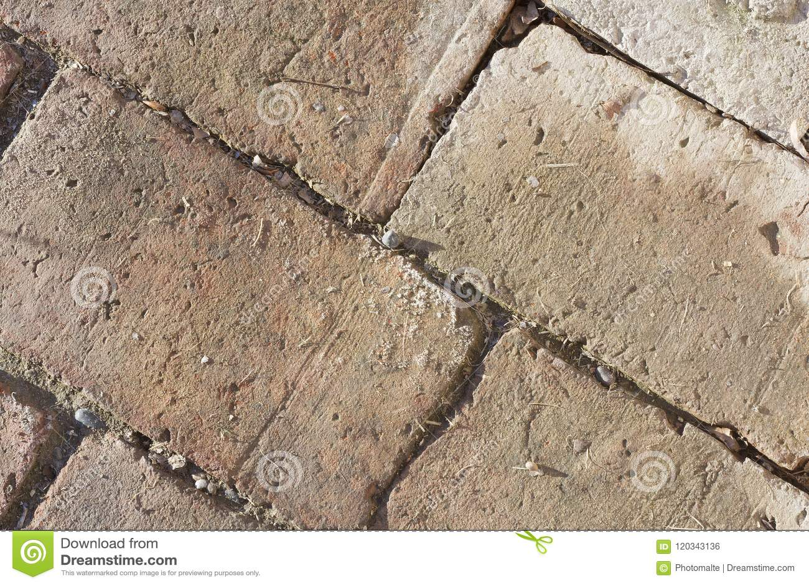 Red bricks over the floor