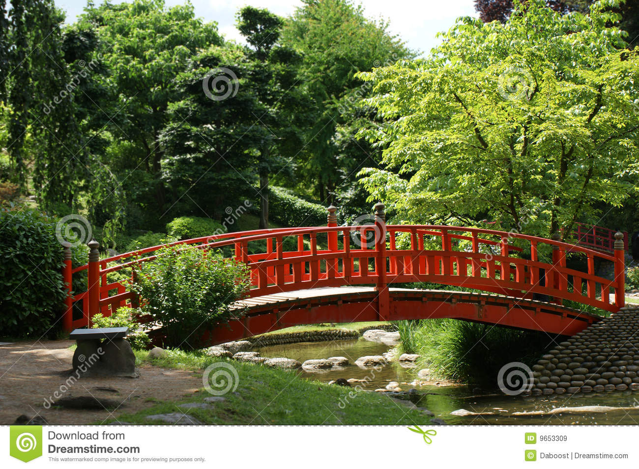 royalty free stock photo download red bridge in a japanese garden - Red Japanese Garden Bridge