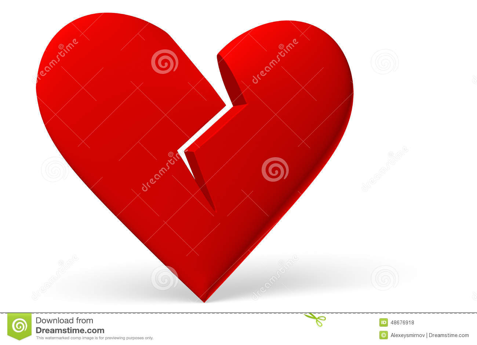 Red Broken Heart Symbol Diagonal View Stock Illustration