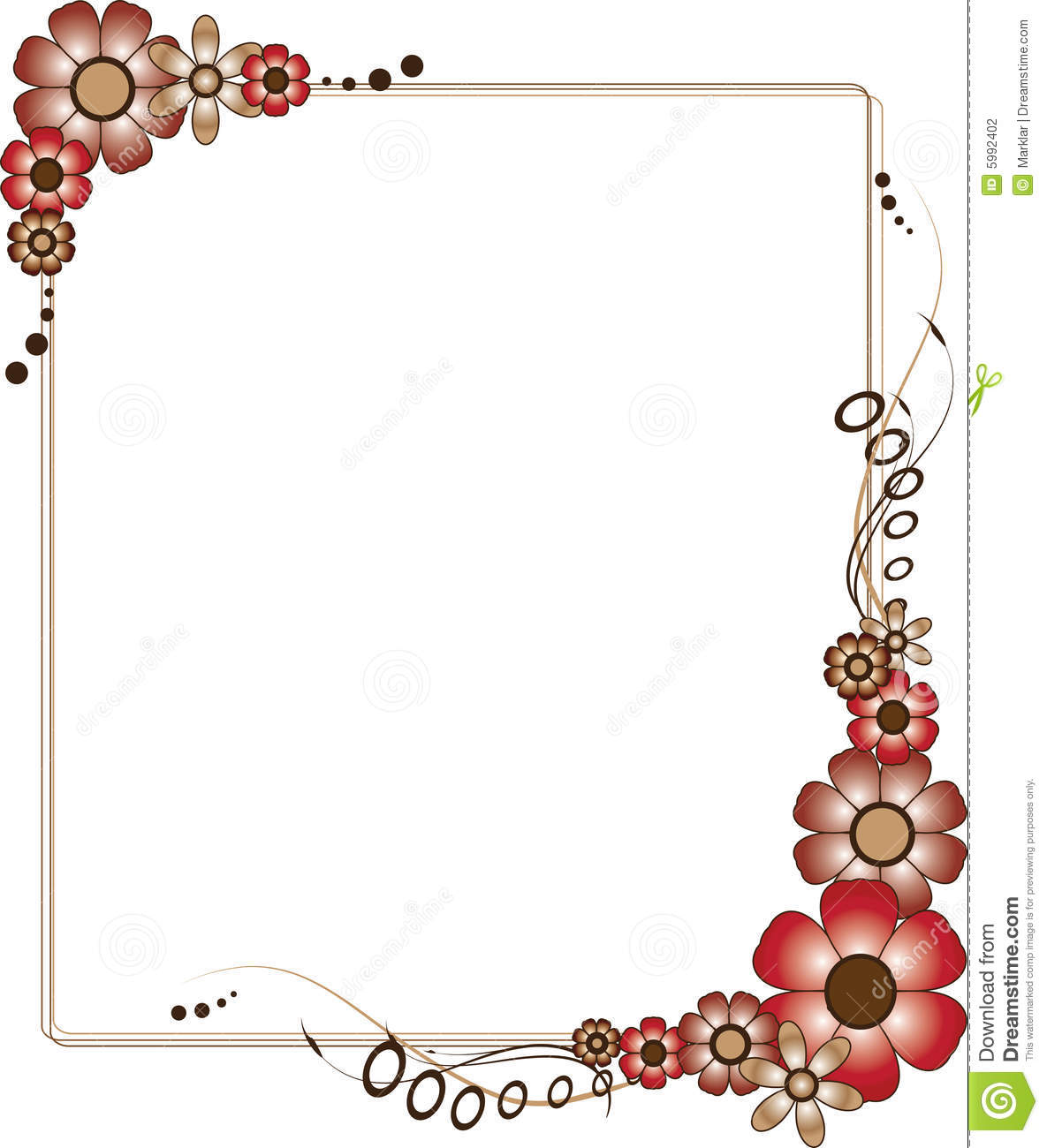 red and brown flowery frame