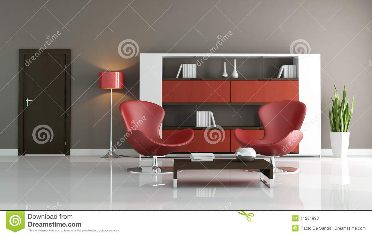 Red and brown modern living room stock illustration for Modern living room red