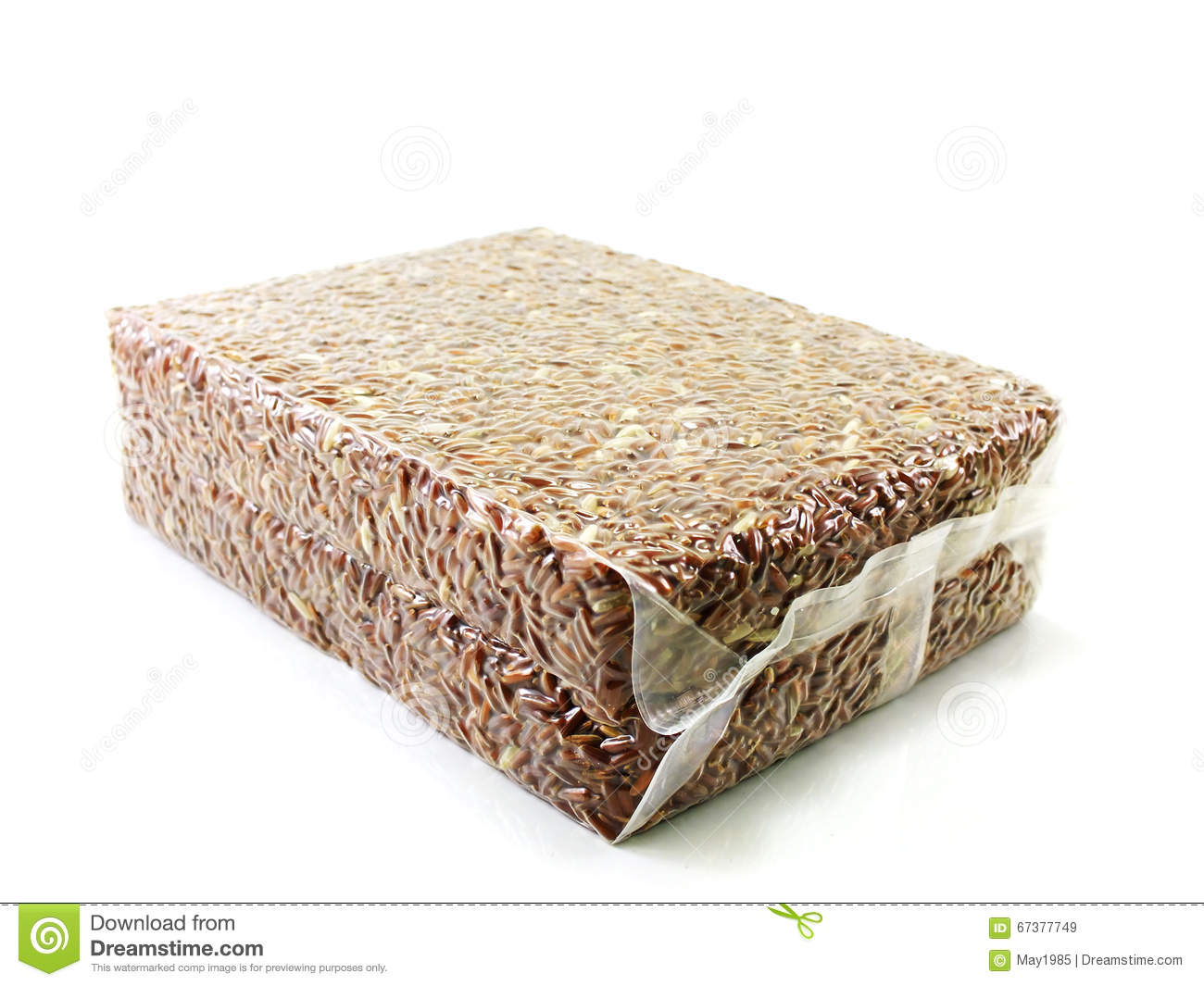 Red brown rice in vacuum package on white background
