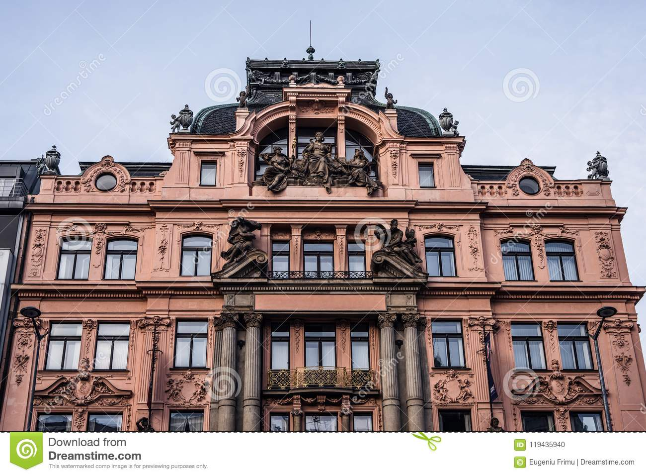 Red building in baroque style on Wenceslas Square