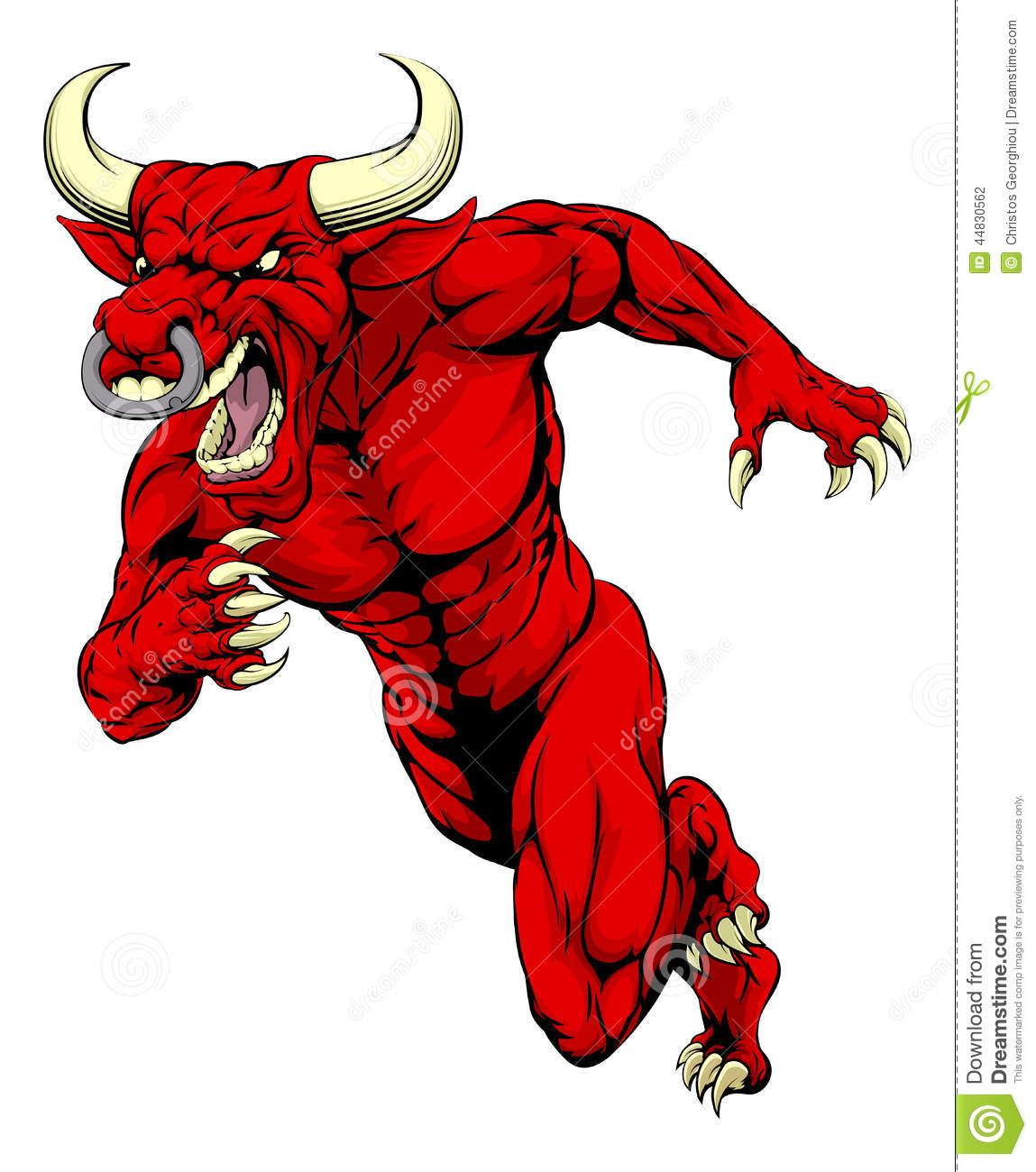 ... illustration of a mean tough looking red bull sports mascot sprinting