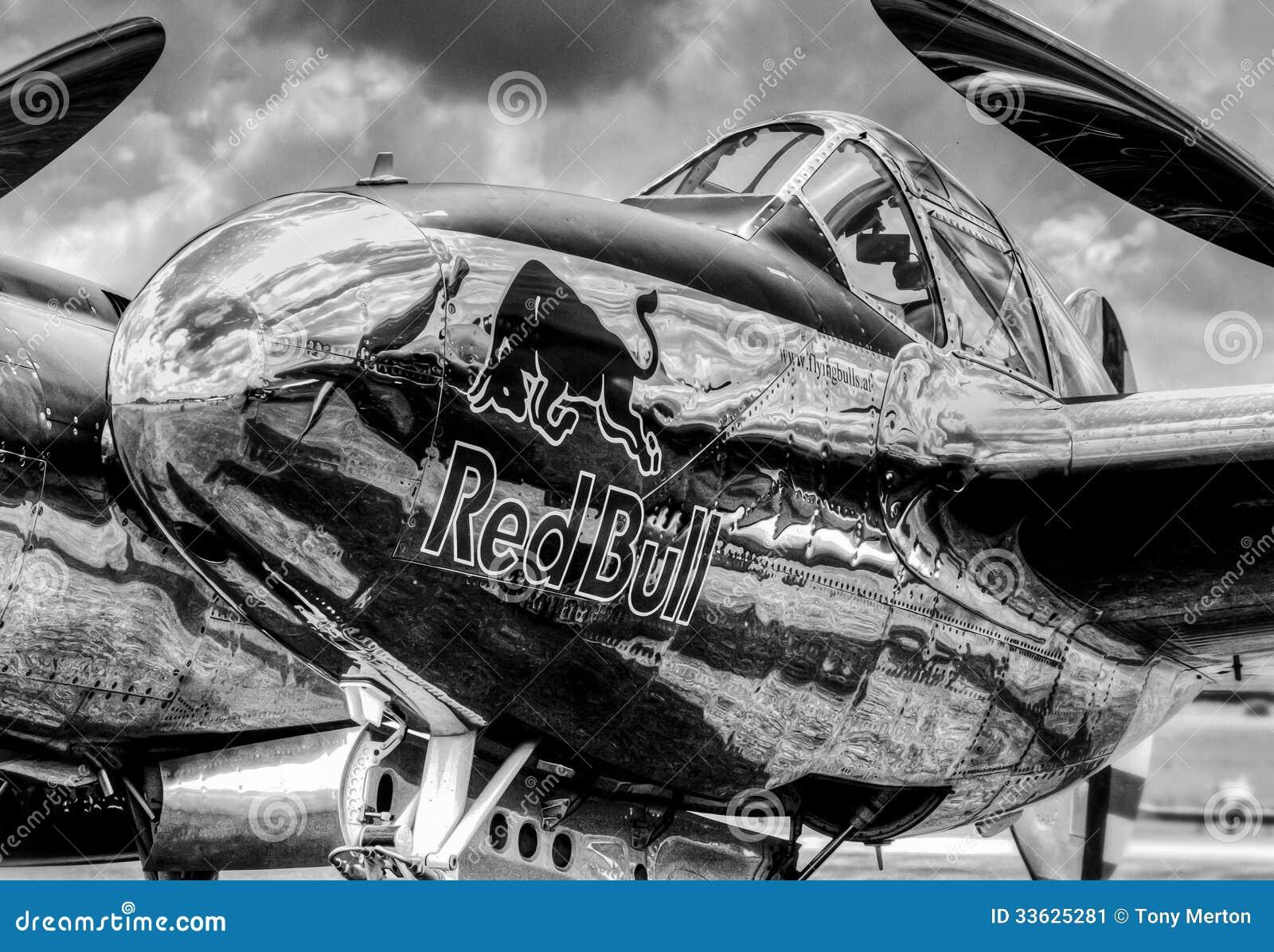 red bull p38 lockheed lightning editorial photo image of aviation