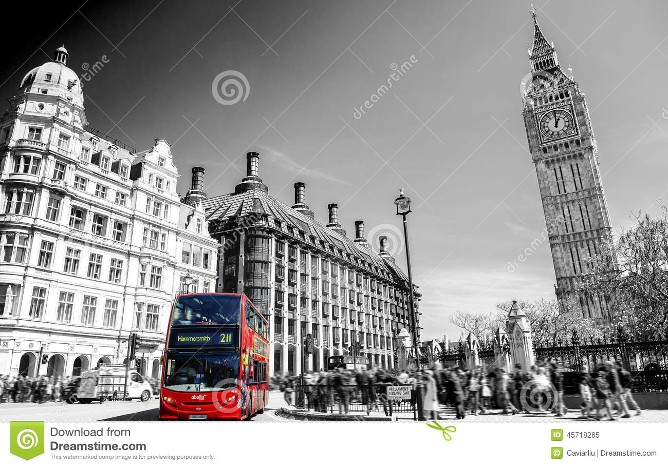 Download Red Bus In Lodon Street View With Big Ben In Panorama , Black And White Editorial Image - Image of famous, clock: 45718265