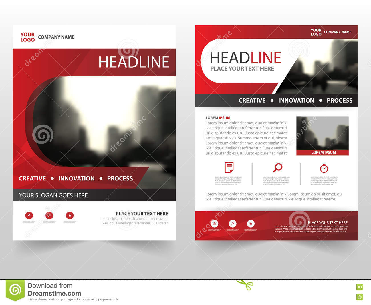 Red Business Brochure Leaflet Flyer Annual Report Template Design