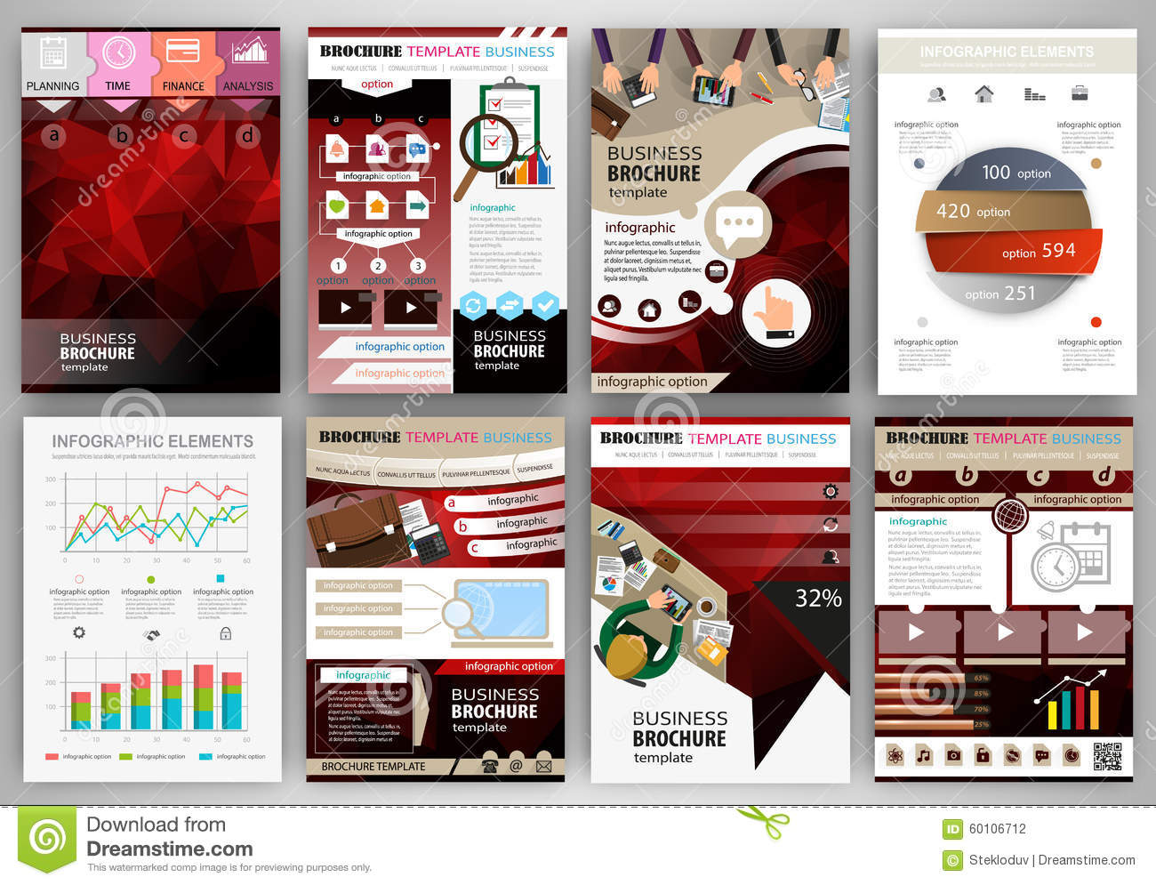 Red business brochure template with infographic elements for Infographic brochure template