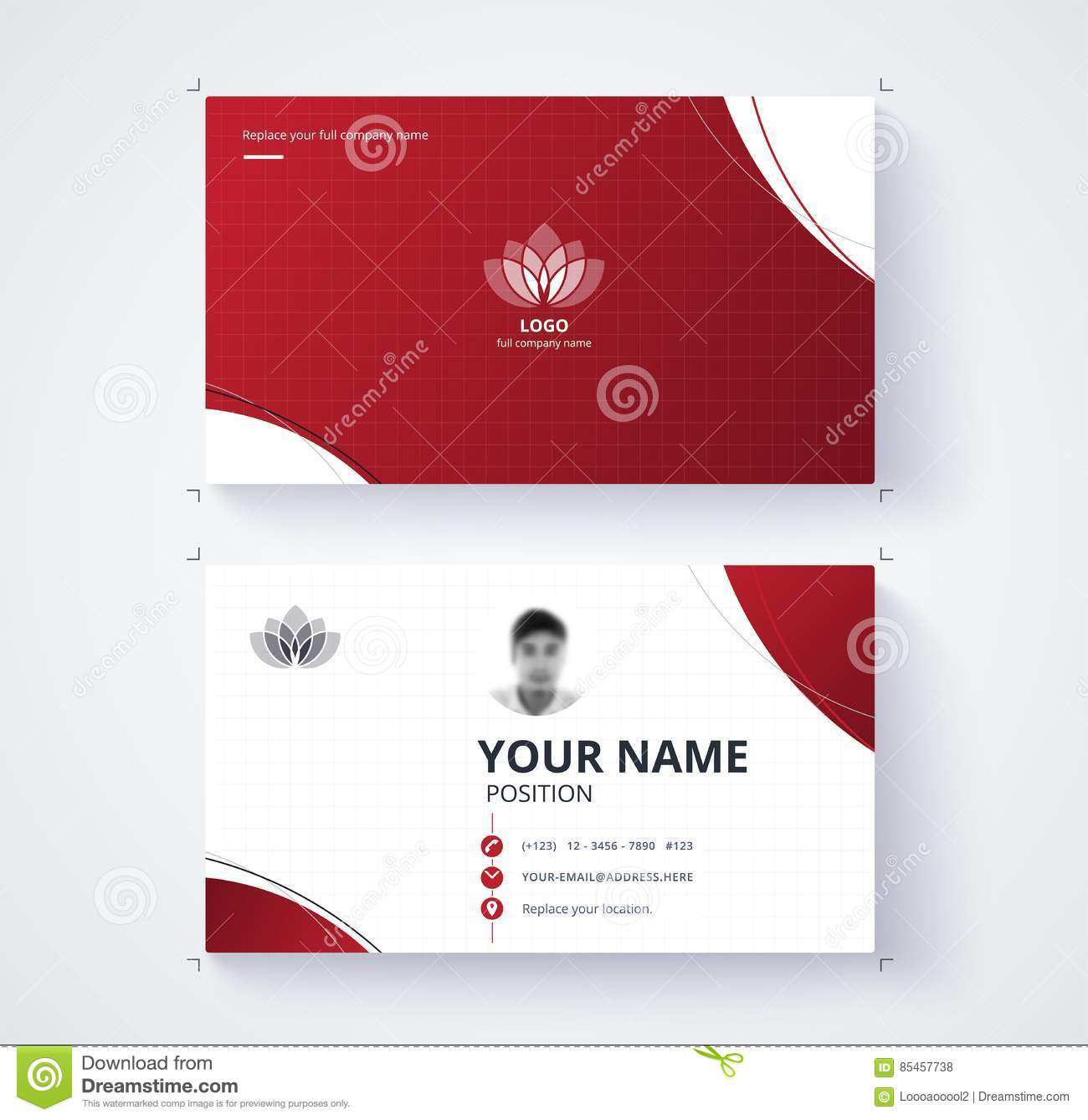 Red Business Card Template With Sample Logo Design Vector Card