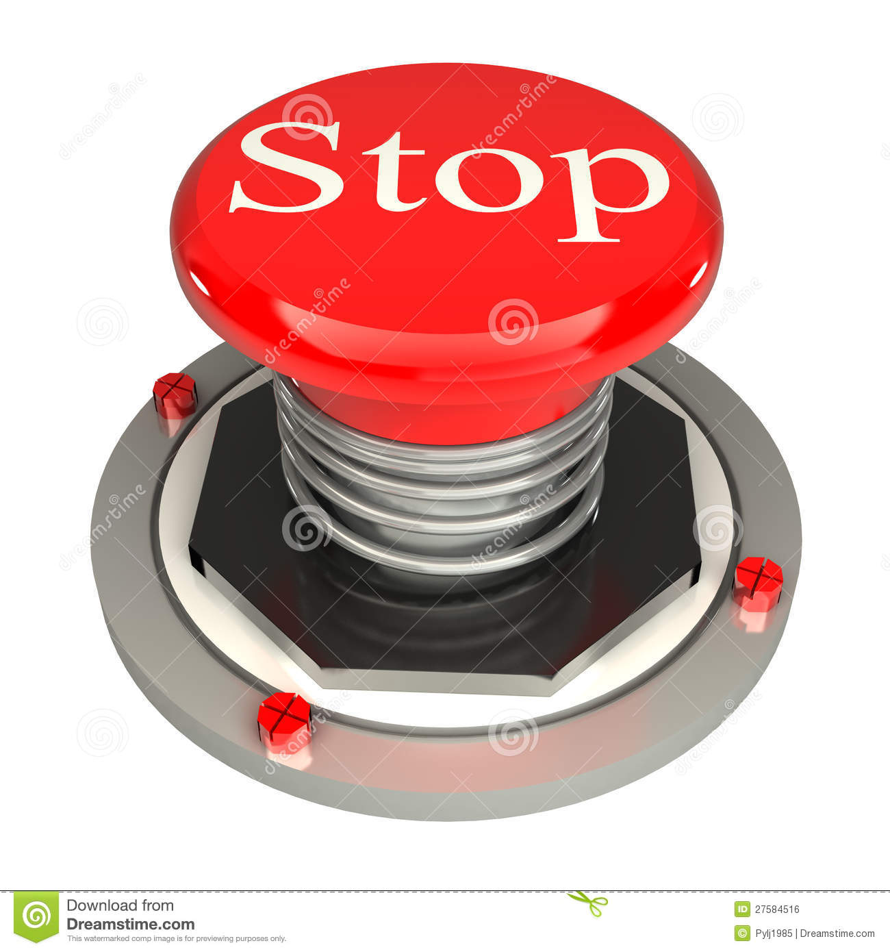 The Red Button, Stop, 3d Concept Isolated Royalty Free