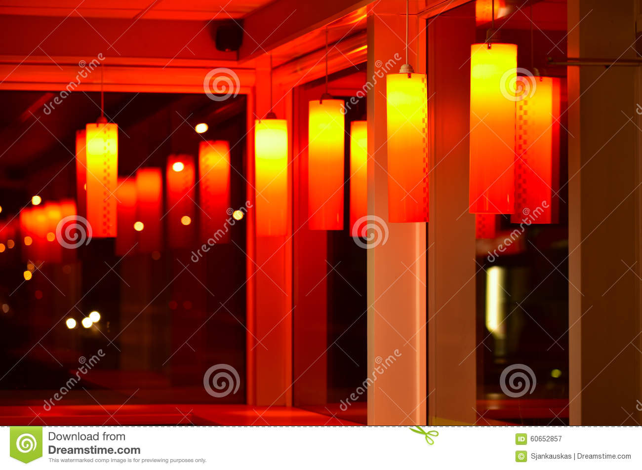 red cafe interior night scene stock photo - image: 60652857