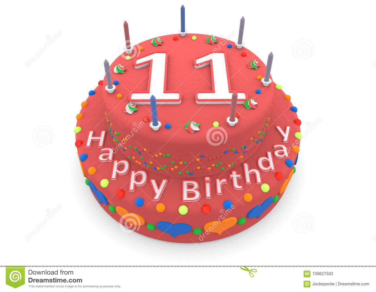 Red Cake With Happy Birthday And The Age Stock Illustration