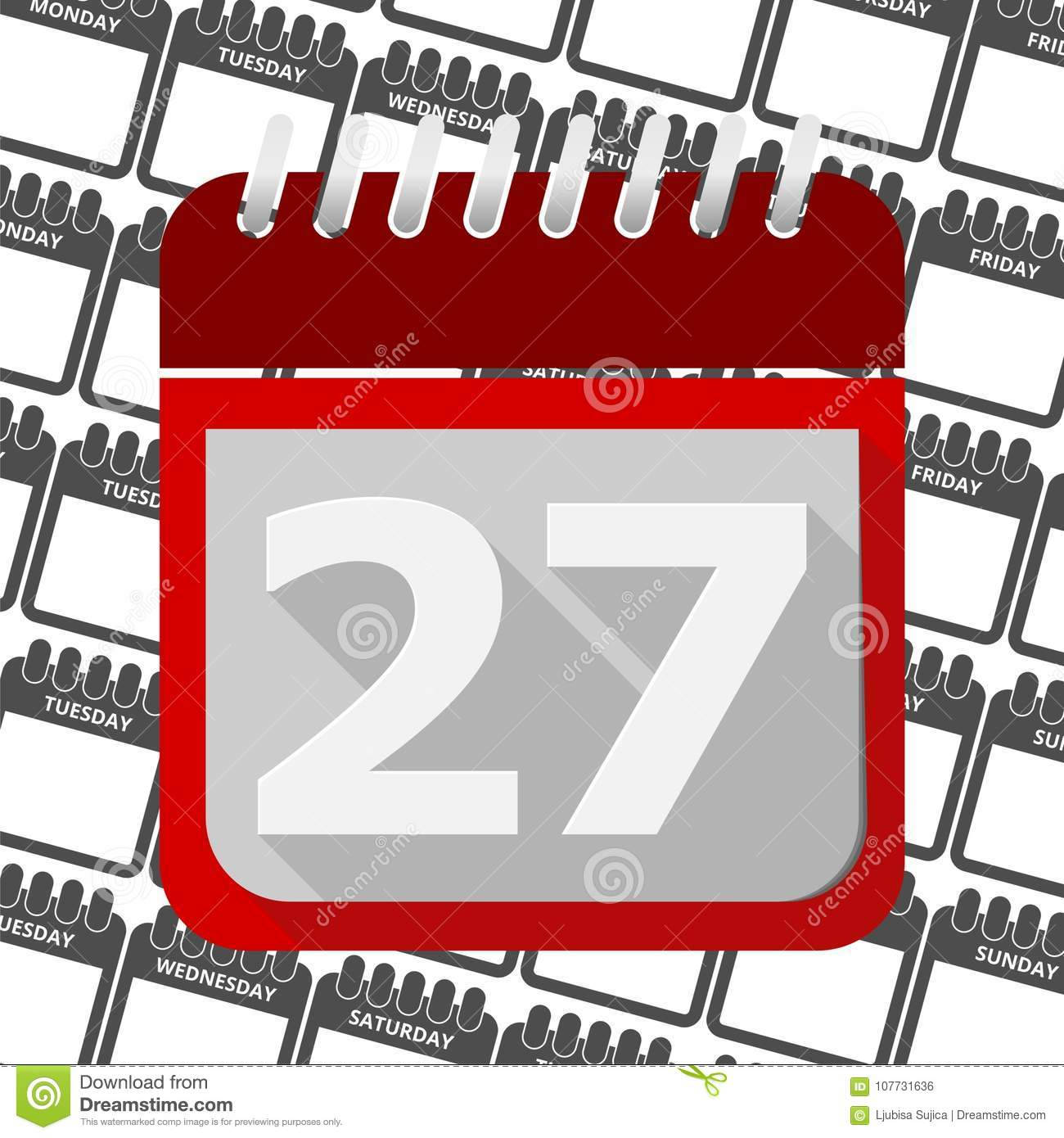 Atu Calendar.Red Calendar Vector Icon Number 27 Stock Vector Illustration Of