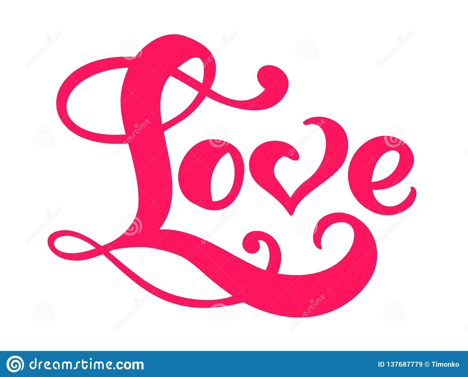 Red Calligraphy Word Love. Vector Valentines Day Hand ...