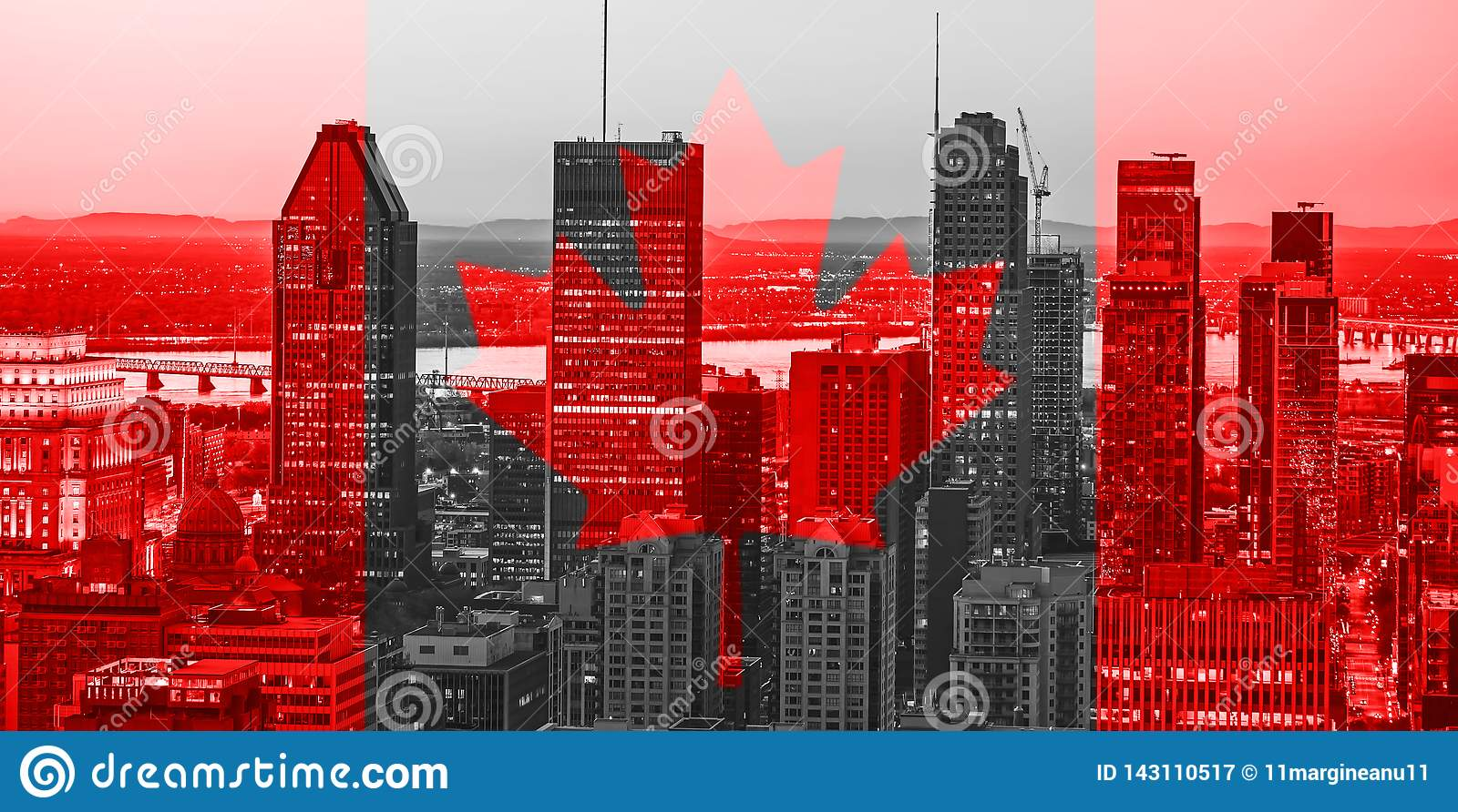 Red Canadian symbol over buildings of Montreal town at Canada National Day of 1st July. Canada Day flag with maple leaf on