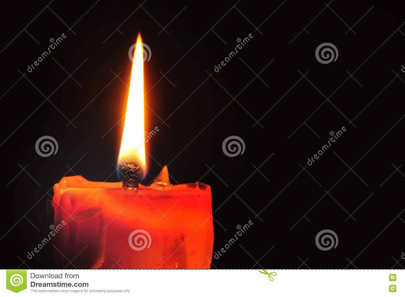 Red Candle And Lighting On Black Background Stock Photo ...