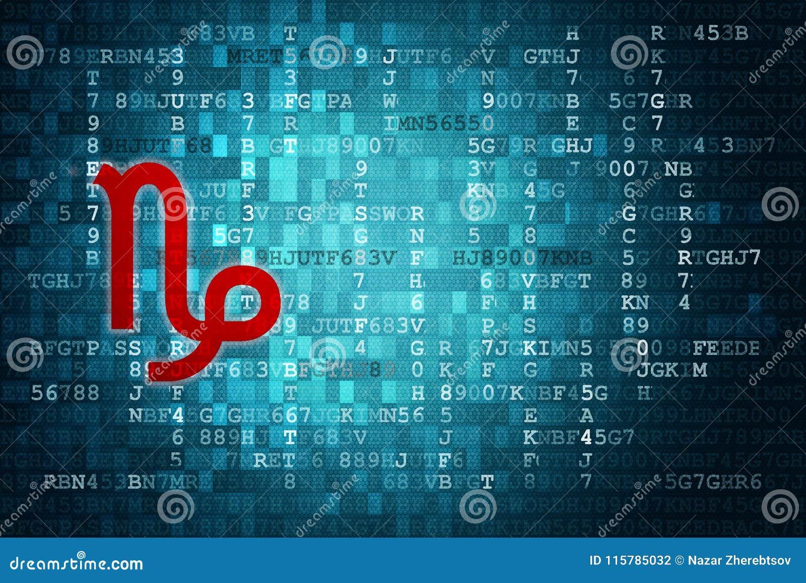 Red Capricorn Zodiac Sign on Blue Digital Background. Copy Space ...