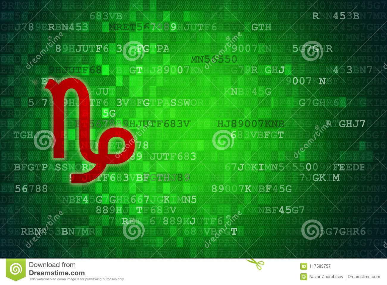 Red Capricorn Zodiac Sign On Green Digital Background. Copy Space ...