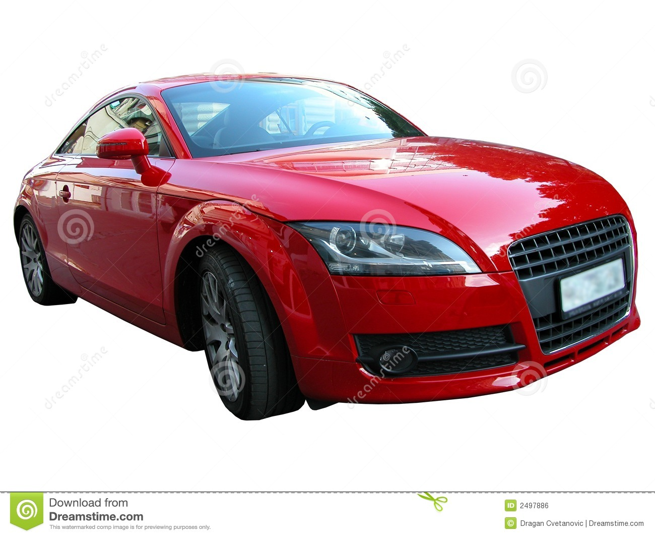 Red Audi, isolated red car on a white background. Powerful German ...