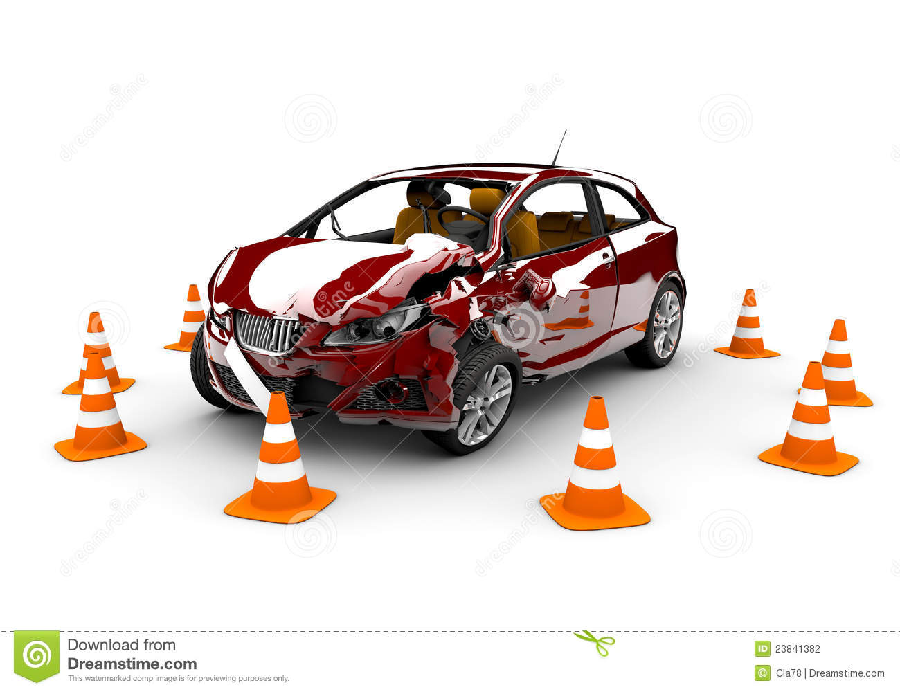 red car in an accident with many traffic cone around.