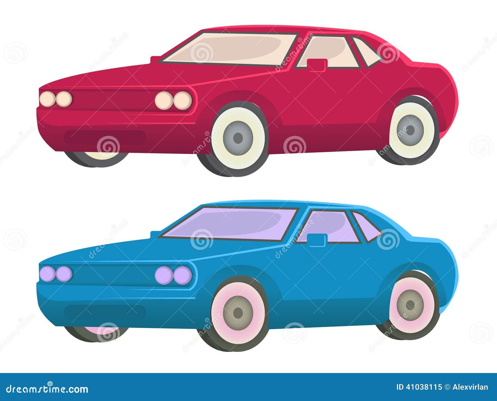 red car and blue car illustration stock vector image 41038115. Black Bedroom Furniture Sets. Home Design Ideas