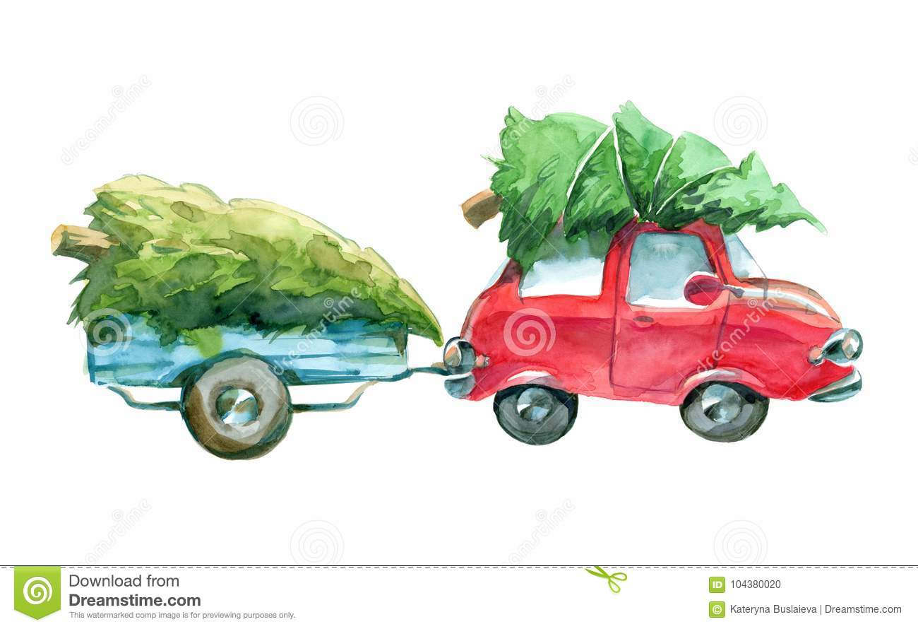 Red Car And Blue Trailer With Green Christmas Tree On Top