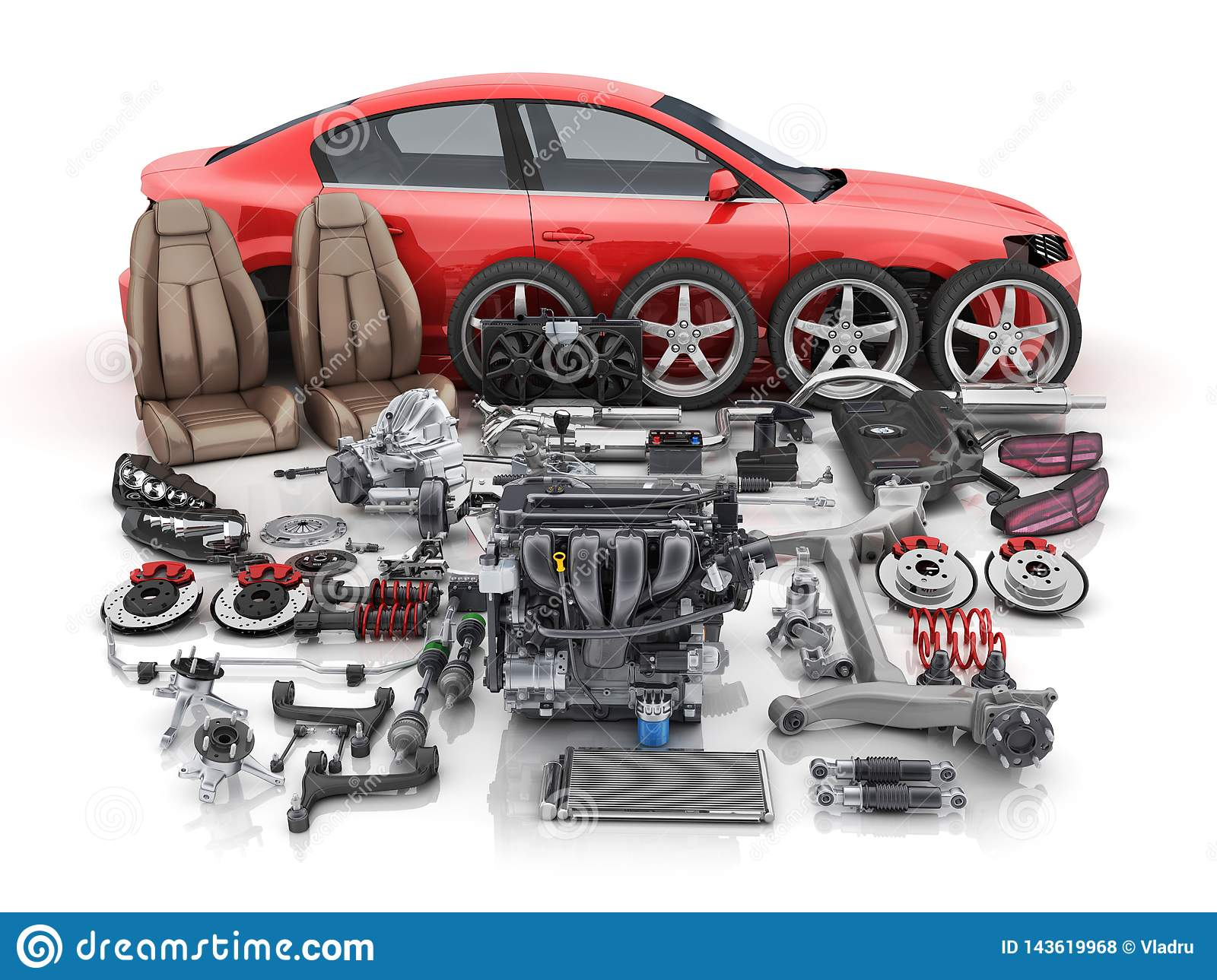 Car Body Parts >> Red Car Body Disassembled And Many Vehicles Parts Stock