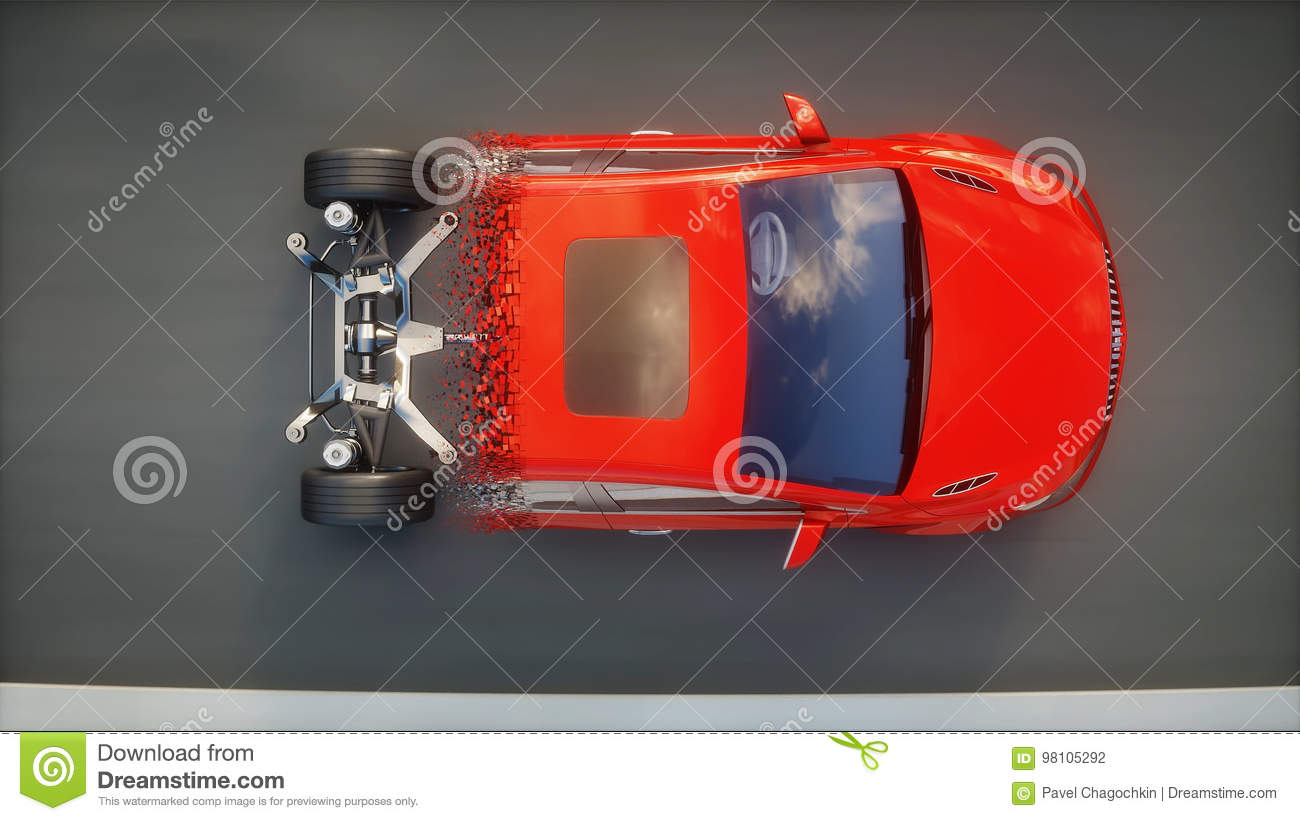 Red Car Chassis With Engine On Highway  Transition With