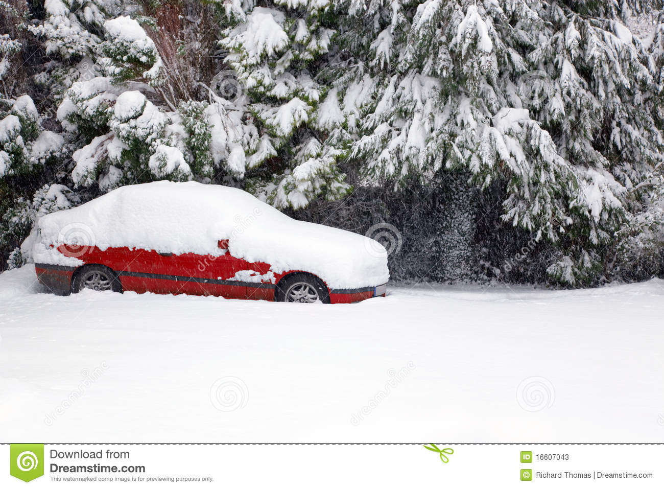 Car Covered In Snow : Red car covered in snow stock image of road nobody