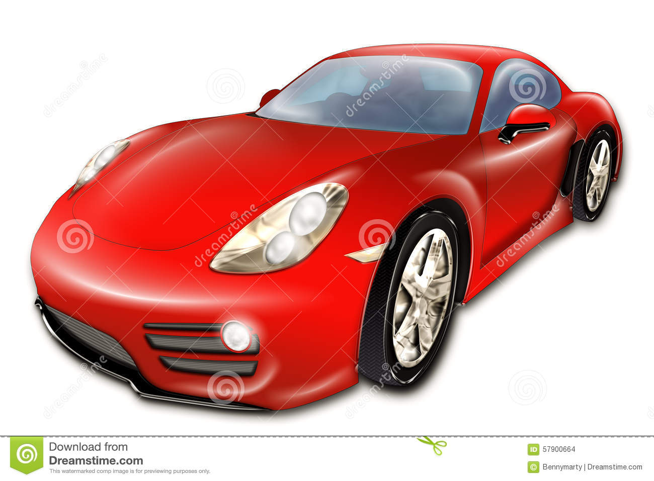 Red Car Stock Illustration. Image Of Side Modern Coupe - 57900664