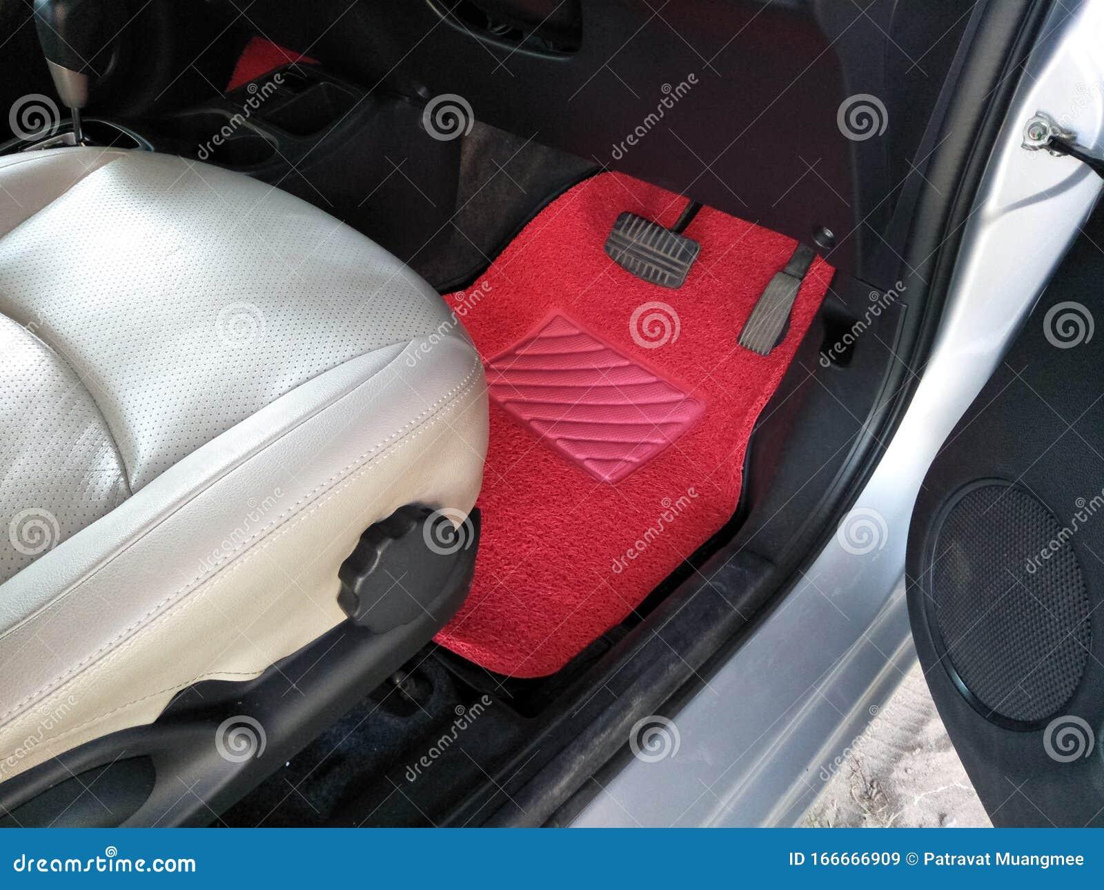 Red Car Floor Mats Placed On Car Floors Inside The Car Stock