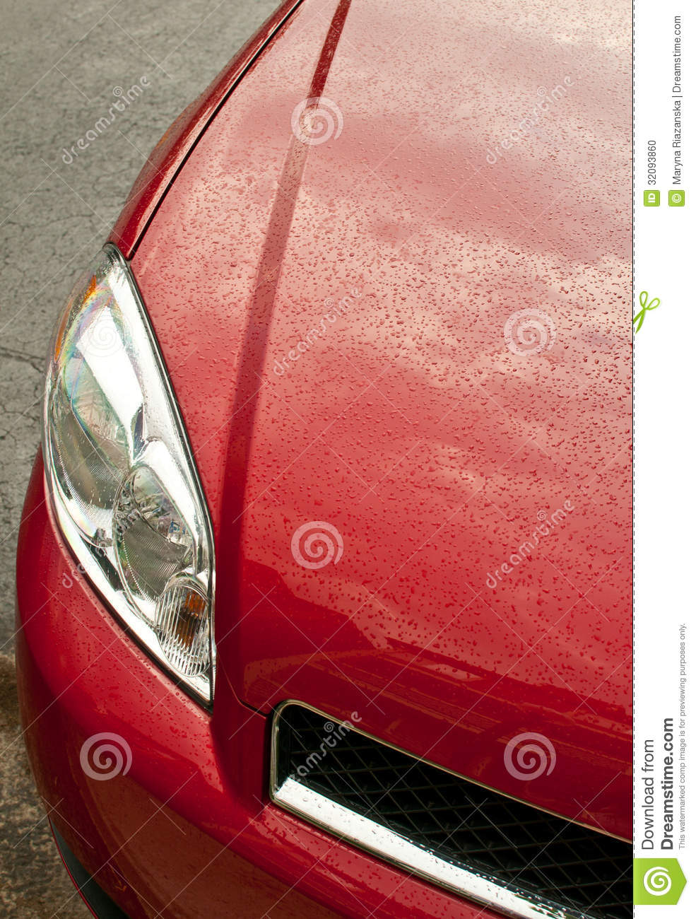 Truck Headlights In Rain : Red car headlight with rain drops stock photo image