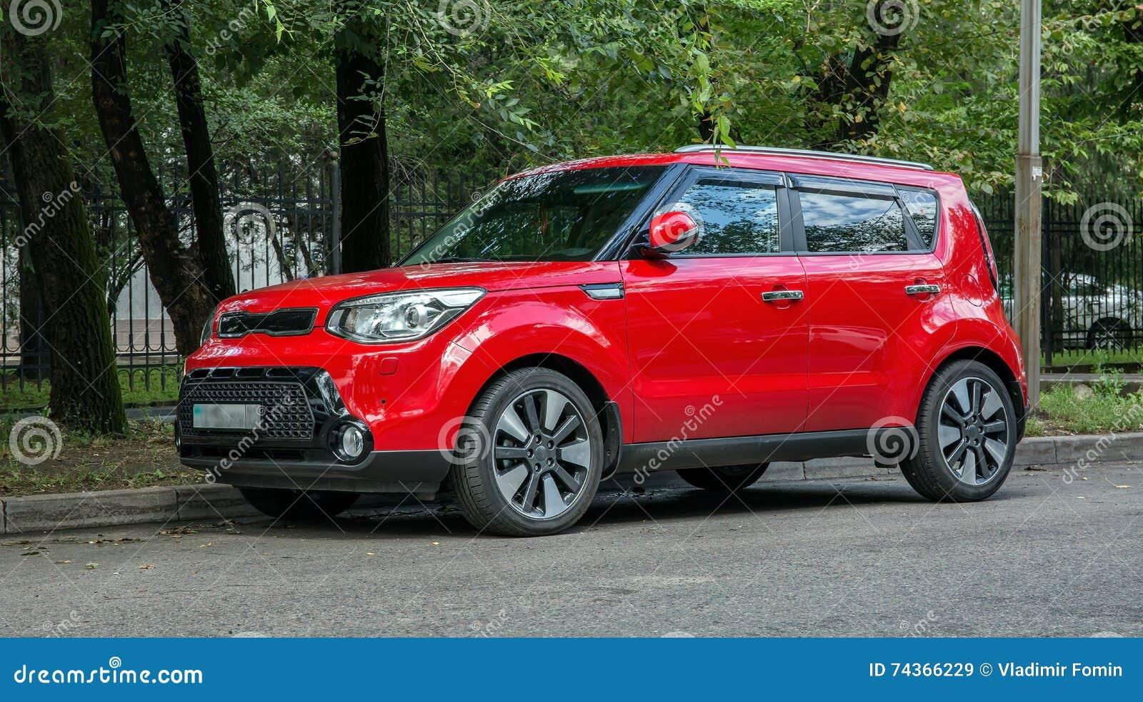Red Car Kia Stock Photo Image 74366229